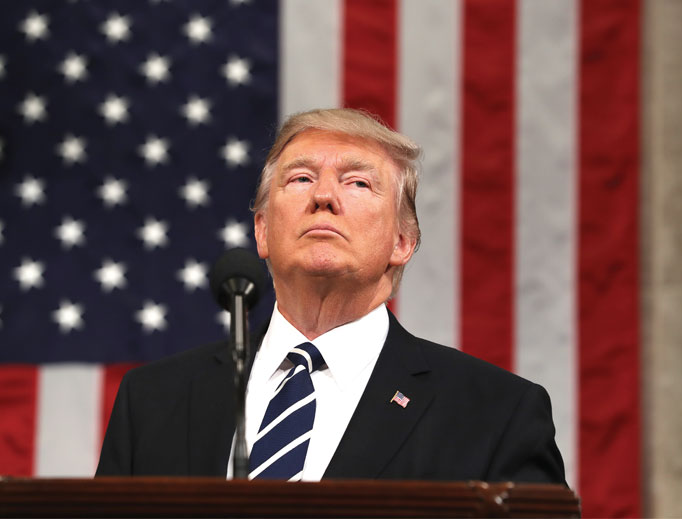 President Donald Trump delivers his first address to a joint session of Congress from the floor of the House of Representatives in Washington Feb. 28.