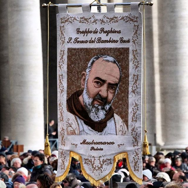 St. Pio banner is St. Peter's Square Feb. 6