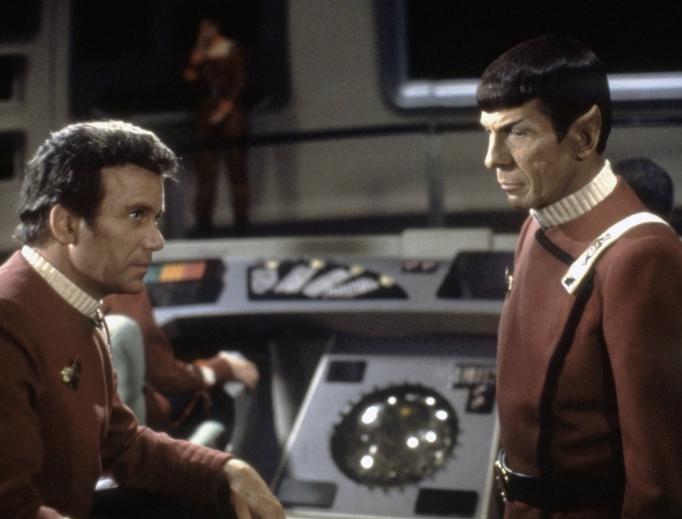 William Shatner (l) and Leonard Nimoy appear in Star Trek: The Wrath of Khan (1982).