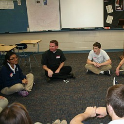 Father Joseph Faulkner's Latin class at St. Cecilia's High School in Hastings, Neb., plays a Latin-speaking game.