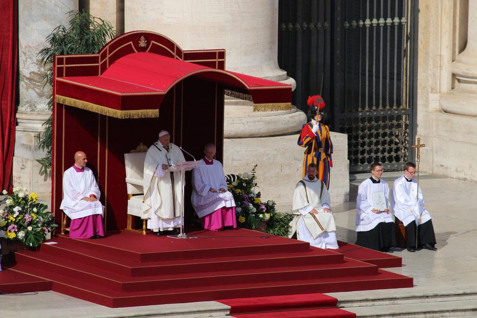 Pope Francis delivering his homily at today's canonization, Oct. 13, 2019.