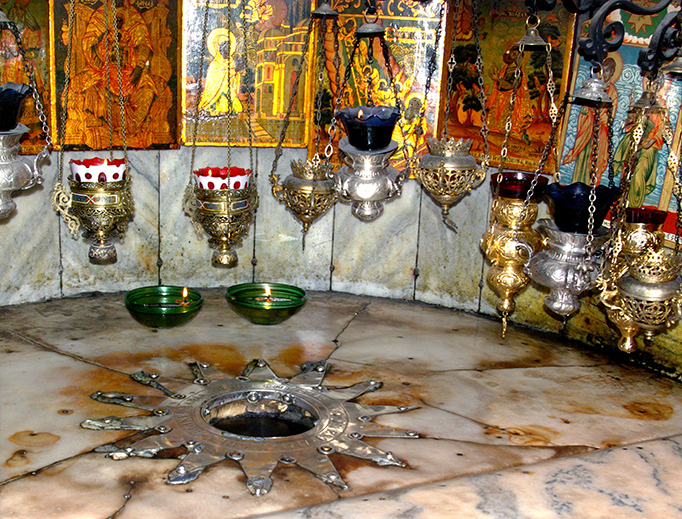 The Grotto of the Nativity in Bethlehem marks the site of Our Lord's birth
