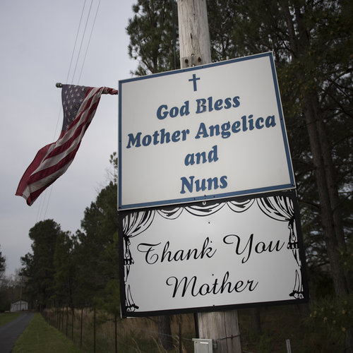Sign thanks Mother Angelica in Hanceville, Ala.