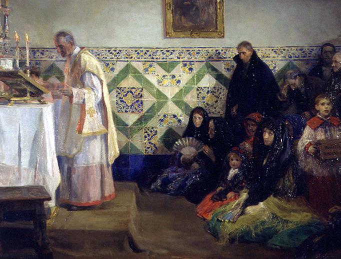 """José Benlliure y Gil (1855–1937), """"Hearing Mass, Rocafort"""""""