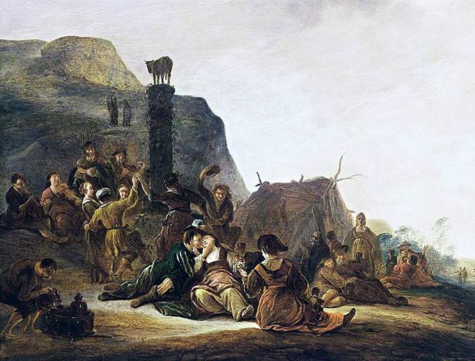 "Gerrit de Wet (1616-1674), ""The Adoration of the Golden Calf"""