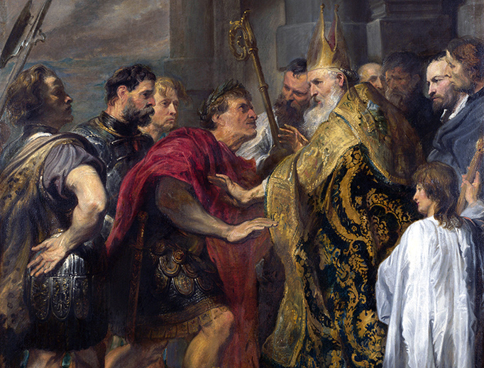 """Anthony van Dyck, """"Saint Ambrose Barring Emperor Theodosius from the Milan Cathedral,"""" c. 1620"""