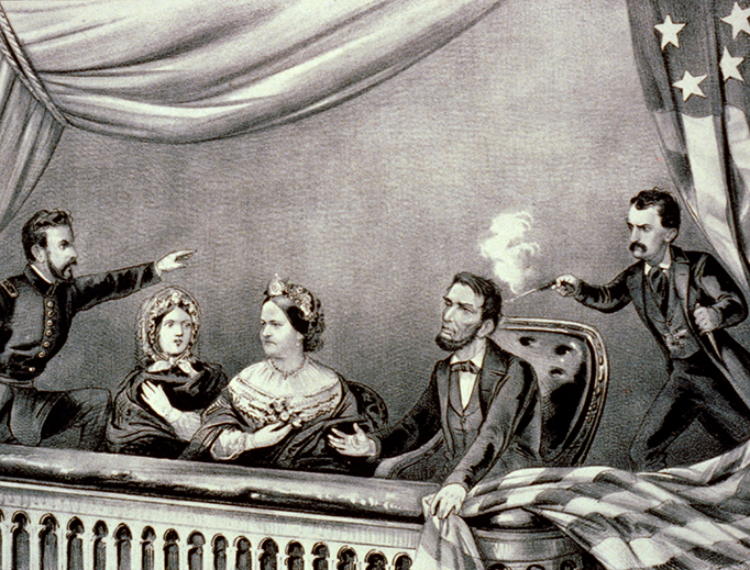 An 1865 Currier & Ives lithograph of the assassination of Abraham Lincoln. From left to right: Henry Rathbone, Clara Harris, Mary Todd Lincoln, Abraham Lincoln, and John Wilkes Booth.