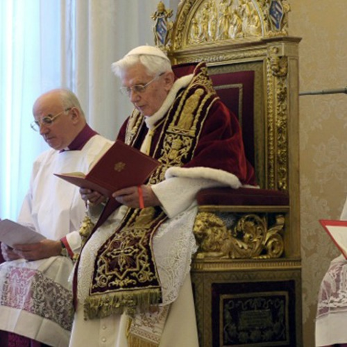 Pope Benedict XVI attends a consistory at the Vatican Feb. 11, 2013, at which he announced his intention to resign the papacy.