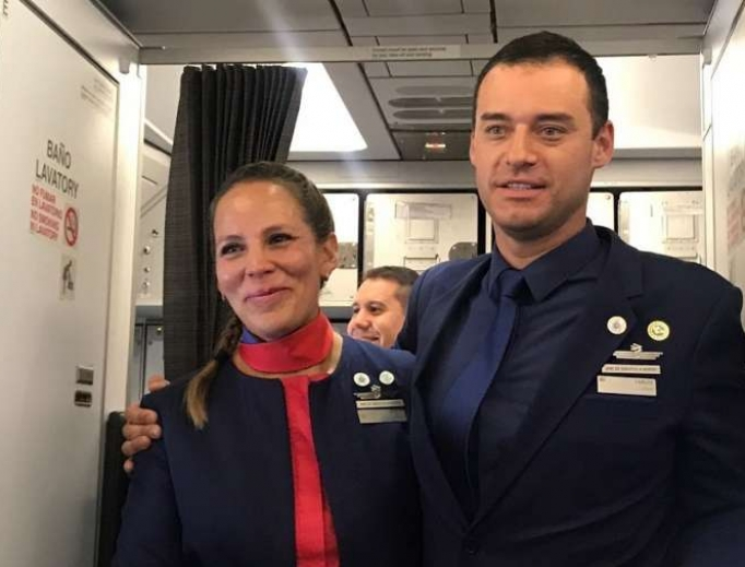 Paula Podest and Carlos Ciuffardi, who were married by Pope Francis aboard a flight from Santiago to Iquique, Chile, Jan. 18.
