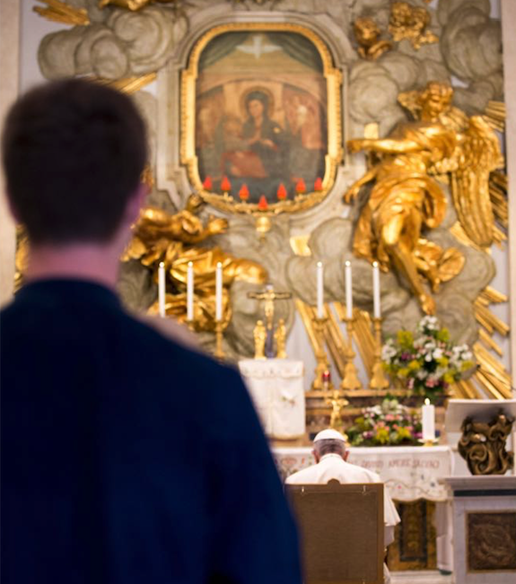 Pope Francis praying at the Shrine of Our Lady of Divine Love near Rome, May 1, 2018.