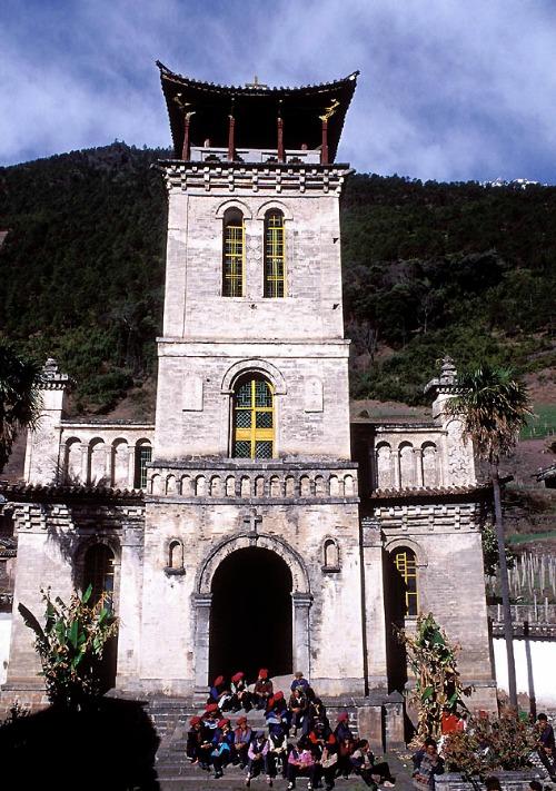 A Catholic church in Cizhong, Yunnan Province, China.