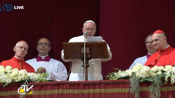 Pope Francis delivering his Easter Urbi et Orbi (to the city and to the world) message. March 31, 2013.