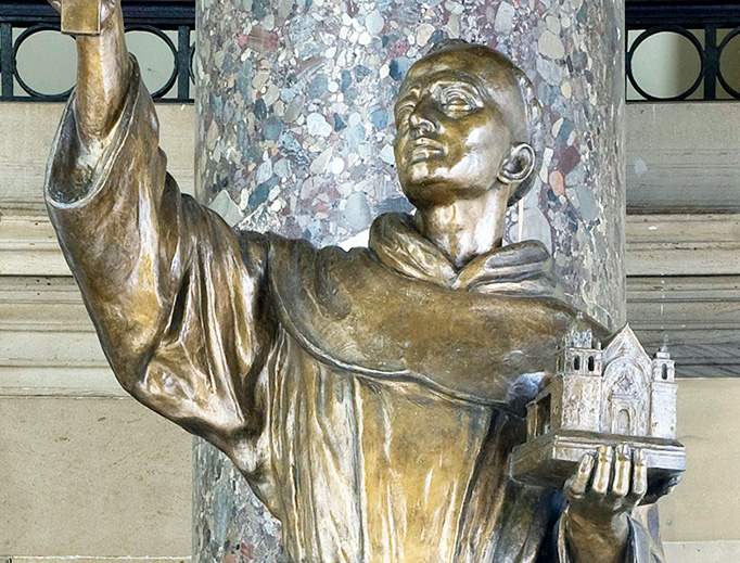 The statue of St. Junípero Serra in Statuary Hall in the U.S. Capitol.