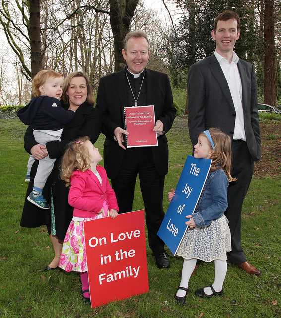 "Archbishop Eamon Martin of Armagh, the primate of all Ireland, with the Liffey family at the launch of  ""The Joy of Love"" apostolic exhortation."