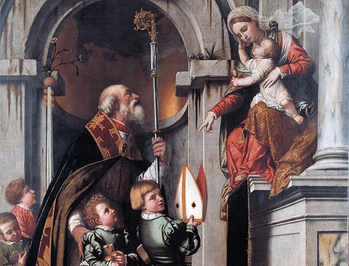 """Moretto da Brescia, """"St. Nicholas of Bari Presents the Rovelli Students to Madonna and Child"""", 1539"""