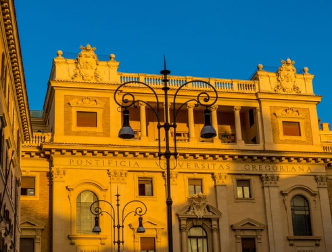 Pontifical Gregorian University in Rome at sunset.