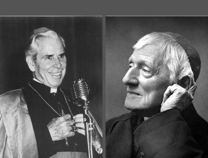 L to R: Archbishop Fulton Sheen and Cardinal John Henry Newman