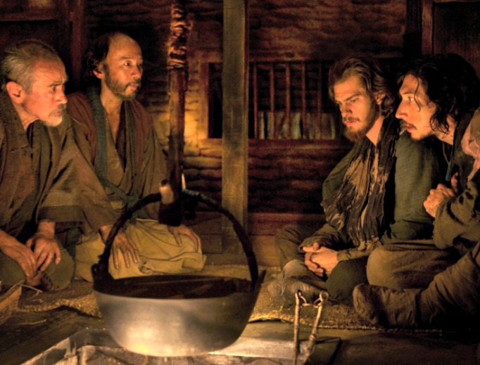CHRISTIAN PERSECUTION. Andrew Garfield (second from right) and Adam Driver (r) portray Jesuit priests in 17th-century Japan amid a culture that demands apostasy for Christians. Paramount Pictures