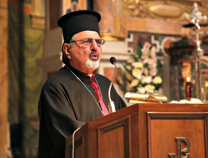 "Syriac Catholic Patriarch Ignace Youssif III Younan speaks at the ""Prayer for Peace"" event in the Parrocchia di Santa Maria ai Monti Church in Rome on April 17, 2015."