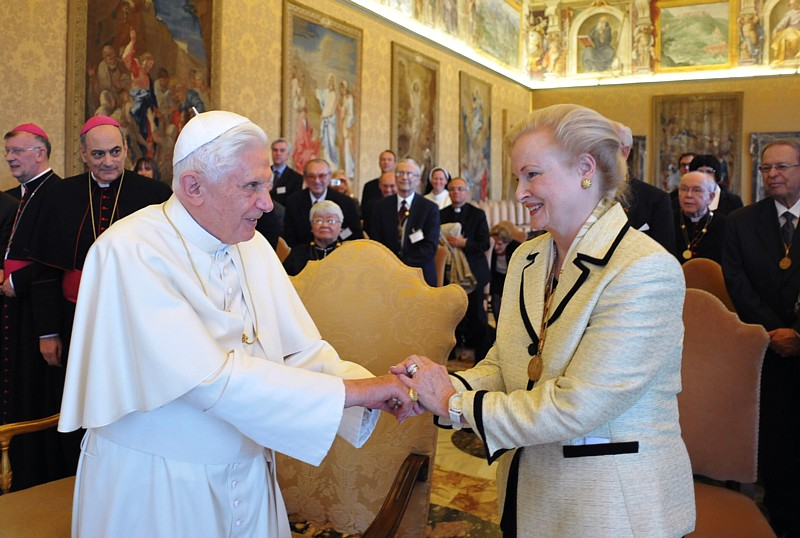 Pope Benedict XVI meets Mary Ann Glendon, the former U.S. ambassador to the Vatican and now president of Vatican's Pontifical Academy of Social Sciences, during a meeting with participants in a plenary session of the academy at the Vatican April 30.