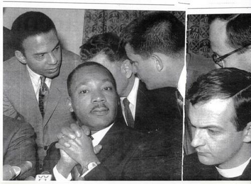Father Neuhaus (far right) with Martin Luther King Jr.