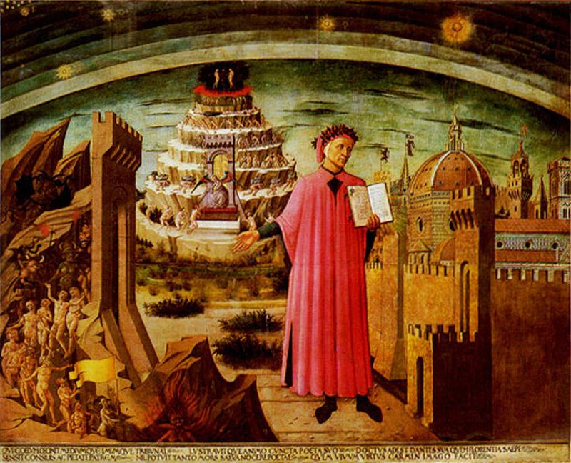 Dante Before the City of Florence (fresco by Domenico di Michelino, 1465 in Florence Cathedral Santa Maria del Fiore). The fresco depicts Mount Purgatory directly behind Dante.