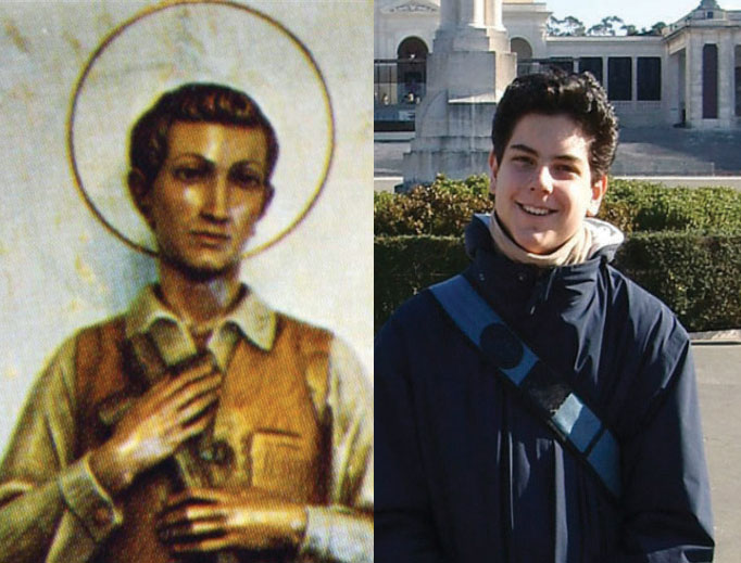 Blessed Nunzio Sulprizio (left) and Venerable Carlo Acutis (right) both loved the Eucharist and the Rosary.