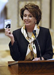 Nancy Pelosi delivers a eulogy during a Feb. 2007 funeral Mass for Father Robert Drinan.