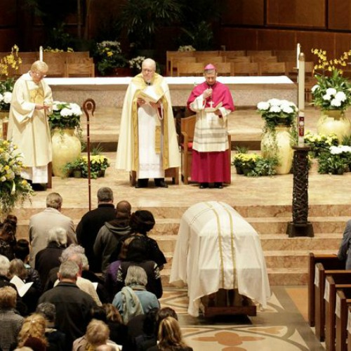 Cardinal George's funeral vigil at Chicago's Holy Name Cathedral in Chicago on April 21.
