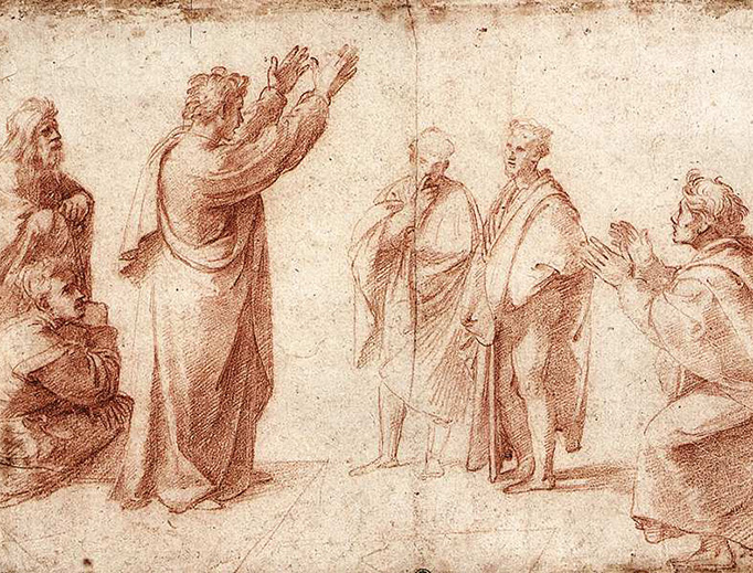 "Raphael (1483-1520), ""Study for St. Paul Preaching in Athens"""