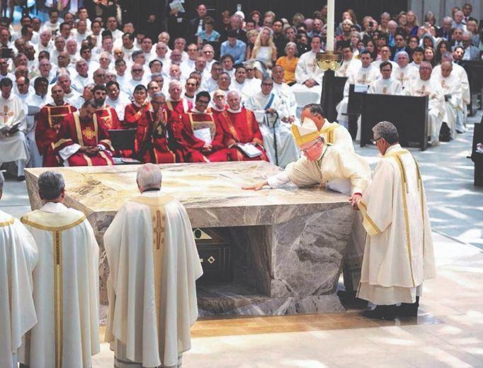 Bishop Kevin Vann of Orange, California, dedicates Christ Cathedral July 17.