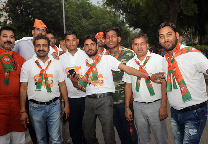 Indian voters celebrate the victory of the Bharatiya Janata Party May 23.