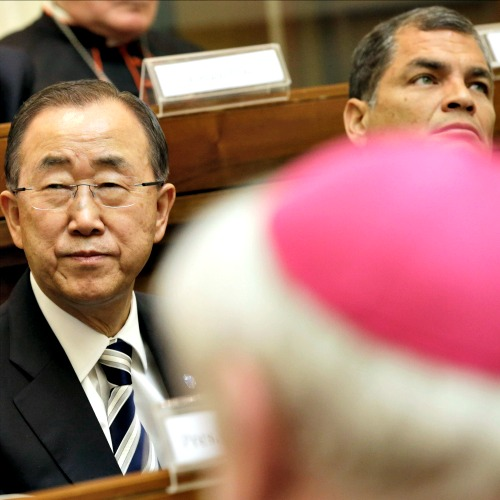 U.N. Secretary-General Ban Ki-moon (l), flanked by Ecuador's President Rafal Correa, attends a Vatican conference on the environment, at the Vatican on April 28.