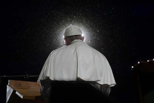 Pope Francis speaks during an ecumenical gathering at Malmo Arena in Lund, Sweden, Oct. 31.