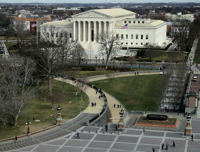 The Supreme Court Building is seen from the U.S. Capitol Dome Feb. 28.