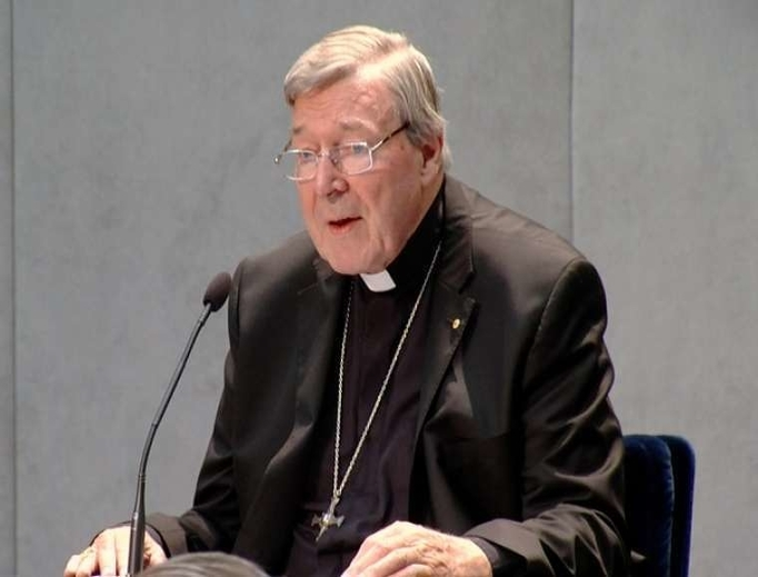 Cardinal George Pell speaks at a Vatican news conference in June 2017.
