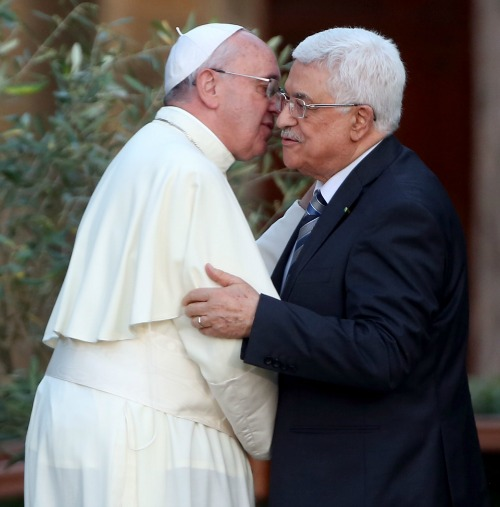 Pope Francis meets Palestinian President Mahmoud Abbas during a peace invocation prayer at the Vatican Gardens on June 8, 2014.