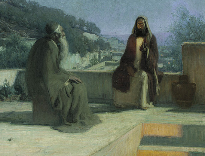 """Henry Ossawa Tanner, """"Nicodemus and Jesus on a Rooftop"""", 1899"""