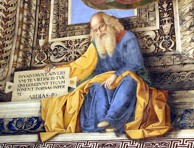 "Melozzo da Forlì, ""Obadiah"" in the Sacristy of St. Mark, ca. 1477, Sailko, CC BY 3.0, via Wikimedia Commons"