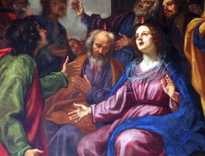 Above, Jacopo Vignali, Pentecost from 1648; below, Harry Connick Sr. prays the Rosary.