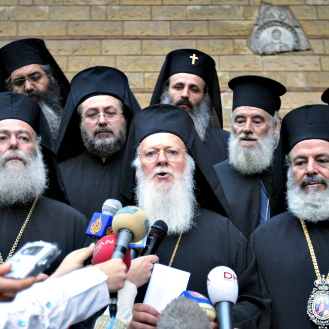 Ecumenical Patriarch Bartholomew I of Constantinople (c) addresses the media in Istanbul, Turkey. Church unity over the long-awaited Pan-Orthodox Church council is eroding just days before it is set to convene.
