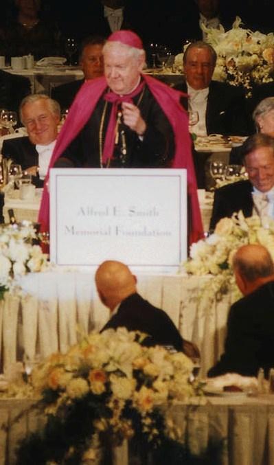 Cardinal Egan hosts Al Gore and George Bush at the 2000 Al Smith Dinner.