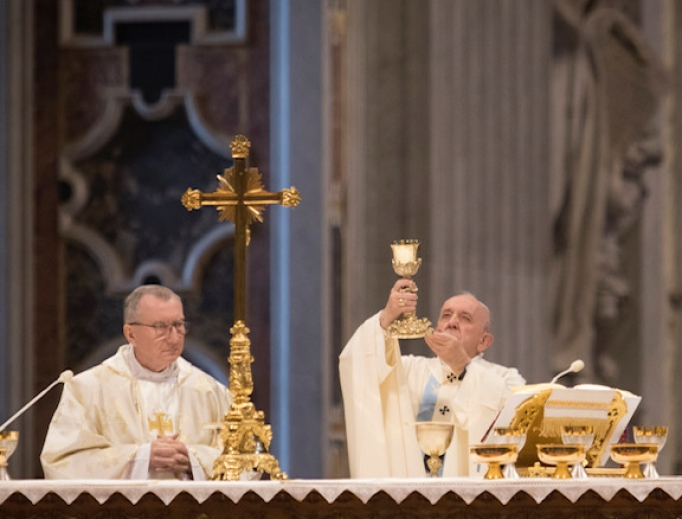Pope Francis celebrates Mass on the Solemnity of Mary, Mother of God, 2020.