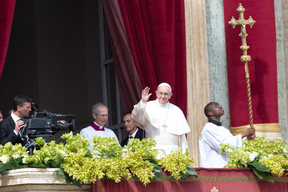 Pope Francis today on the loggia of St. Peter's Basilica.