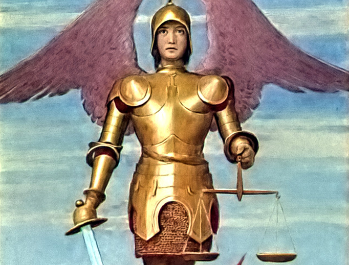 """Saint Michael the Archangel (""""September"""" by Hans Thoma, 1839-1924)"""
