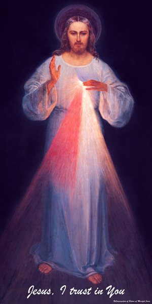 "ABOVE: The Divine Mercy image (""Jesus, I trust in thee."") INSET: Sr. Faustina of the Sisters of Life"