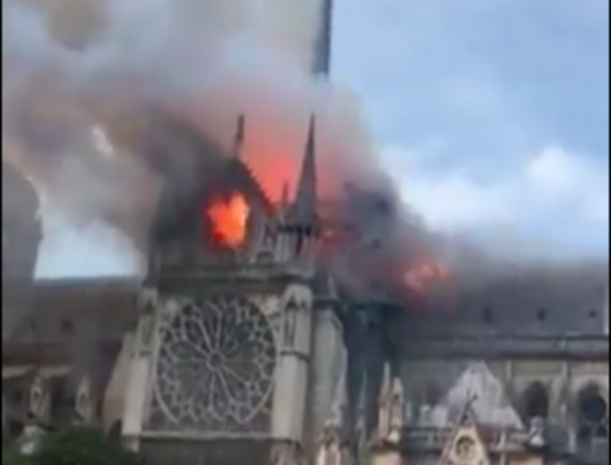 Fire at Notre Dame Cathedral, April 15, 2019.