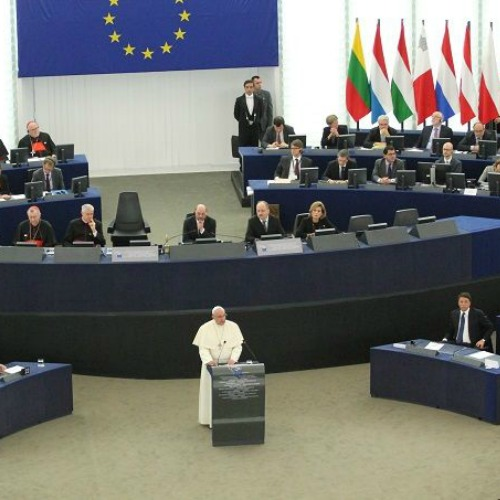 Pope Francis addresses the European Parliament in Strasbourg on Nov. 25, 2014.