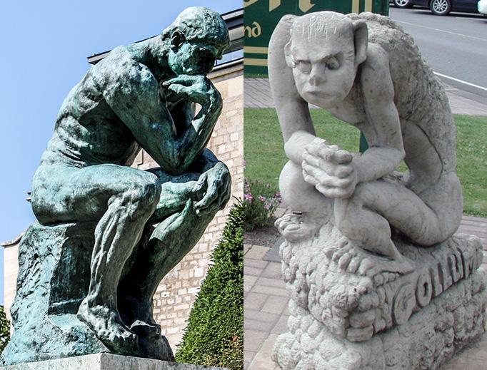 LEFT: 'Le Penseur' in the Jardin du Musée Rodin, Paris. Photo by 'Shadowgate', CC BY 2.0, via Wikimedia Commons. RIGHT: Gollum statue in Matamata, New Zealand. Photo by 'Pseudopanax', Public Domain, via Wikimedia Commons.