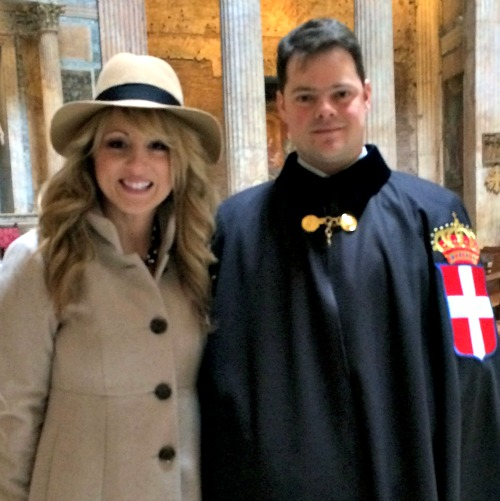Miranda Emde and her Swiss Guard, Jonathan Binaghi; Miranda was blessed to meet Pope Francis, and Jonathan was proud to serve the Holy Father.